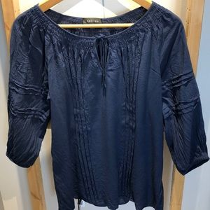 SzM Navy blue boho / peasant blouse